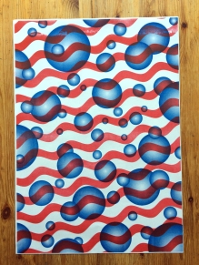 Red and blue gift wrap paper, A2 Riso 2017