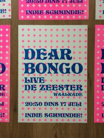 Dear Bongo gig poster A3, Risograph 2018