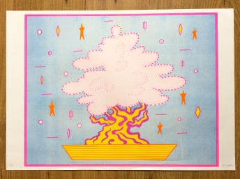 """""""Bonsai"""" 3 color A2 Riso print, 2018"""