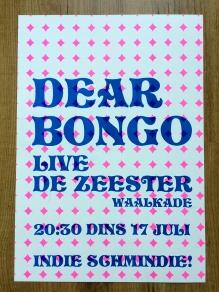 Dear Bongo gig poster, Riso 2018