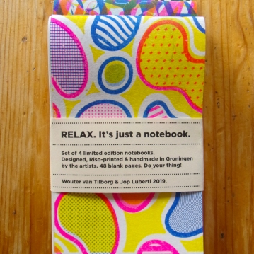 RELAX. It's just a notebook. Series, 3 color Riso print 2019